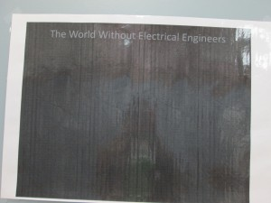 A poster at the electrical engineering booth.  I had a good chuckle